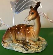 Beswick Deer On Base Model No 721 Brown And White Blue Gloss Art Deco Perfect