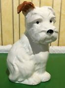 Beswick Dog Terrier Puppy Seated Large No.308 Gloss White And Tan Finish Perfect