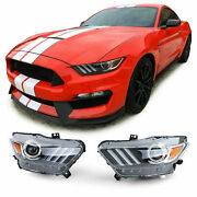 Ford Mustang 6 Coupe And Cabrio Black Bixenon Headlights Headlamps 2014-08/2017