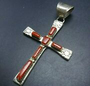 Cecilia Iule Zuni Cast And Hand-stamped Sterling Silver Coral Cross Pendant