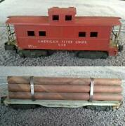 American Flyer S Gauge Train Lot Andcopy1950s Flat Car With Logs 905 And Caboose 938