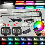 5d Rgb 52 Led Work Light Bar Combo +4 Rgb Halo Pods And Free Wiring Harness Kits