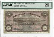 Isle Of Man 5 Pounds 1945 P-6ab M289 Bank Limited, Pmg 25 Vf, Only 600 Printed