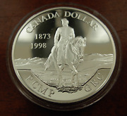 Canada 1998 Silver 1 Proof 120th Anniversary Of Royal Canadian Mounted Police