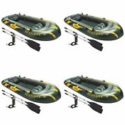 Intex Seahawk 4 Inflatable 4 Person Floating Boat Raft Set W/ Oars And Pump 4 Pack