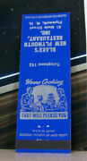 Vintage Matchbook Cover Y5 Plymouth New Hamshire Blake's Restaurant Home Cooking