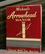 Vintage Matchbook Q7 New York Yonkers Michaeland039s Arrowhead Manor Bow And Arrows