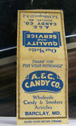 Rare Vintage Matchbook Cover B4 Barclay Maryland A And C Candy Co Smokers Articl