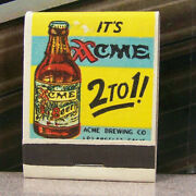 Vintage Matchbook M6 Los Angeles California Acme Brewing Co Beer Quality Ale Win