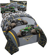 Monster Jam Mj Life 4 Piece Twin Bed Set - Includes Reversible Comforter And Sheet