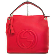 Pre-owned 408825 525040 Soho Shoulder Bag Red Calf Leather Free Shipping