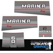 Mariner 60hp Two Stroke Outboard Engine Decals/sticker Kit 1990and039s