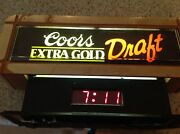 Vintage Coors Extra Gold Draft Beer Lighted Sign Bar Clock