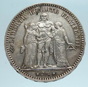 1875 A France Hercules Group Antique Genuine Silver 5 Franc French Coin I83336