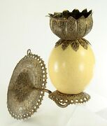 Antique 1800's X-fine Ostrich Egg And Tooled Silver Repousse Candle Sconce Lamp