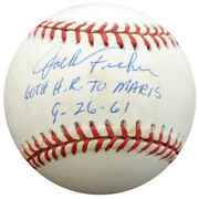 Jack Fisher Autographed Al Baseball Orioles 60th Hr To Maris Beckett F26690