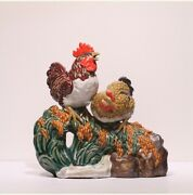 Collect China Color Porcelain Fengshui 12 Zodiac Year Animal Rooster Cock Statue