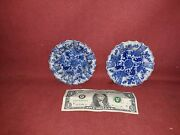 Antique Chinese Blue And White Porcelain Dishes Pair
