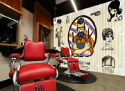 3d Hair Stylist Man P401 Barber Shop Wallpaper Mural Self-adhesive Removable Amy