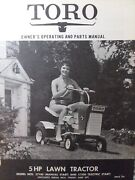 Toro 5 H.p Riding Lawn Mower Tractor Owner And Parts Manual 57100 57200 Till Steer