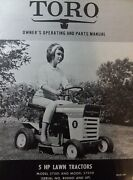 Toro 5 H.p Riding Lawn Mower Tractor Owner And Parts Manual 57001 57050