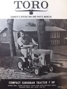 Toro 7 H.p Compact Suburban Riding Lawn Tractor Owner And Parts Manual 55000 55100