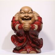 Collect Chinese Red Glaze Porcelain Happy Laugh Maitreya Buddha Ornament Statue