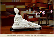 Chinese Dehua White Porcelain Drunk By A Concubine Beauty People Ornament Statue