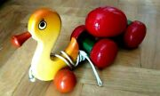 Rare Wooden Pull Toy Greek Kouvalias - Duck With Rolling Egg - Vintage
