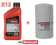 13 Qts Diesel Engine Motor Oil And Filter Ford Motorcraft Fl2051s Sae15w-40 S Duty