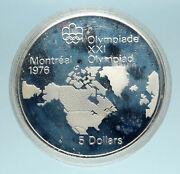 1973 Canada Queen Elizabeth Ii Olympics Montreal World Map Silver 5 Coin I83435