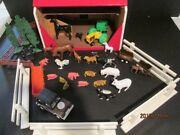 Childrenand039s Handmade Montana Barn With Vintage Plastic Toy Set