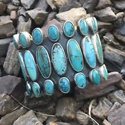Navajo Multi Turquoise And Sterling Silver Cuff Signed