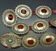 Vintage Navajo Hand-stamped And Repousse Sterling Silver 1st Phase Style Belt