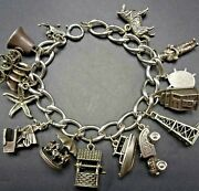 Vintage Us Travel Sterling Silver Charm Bracelet 74g 13 Large And Heavy Charms