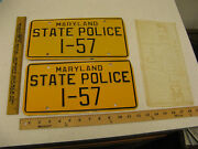 1960and039s 1970and039s 1980 Maryland Md State Police Trooper Cop License Plate Pair I-57