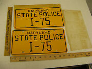 1960and039s 1970and039s 1980 Maryland Md State Police Trooper Cop License Plate Pair I-75