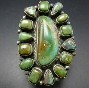 Huge Navajo 43.5g Sterling Silver Green Royston Turquoise Cluster Ring Size 10
