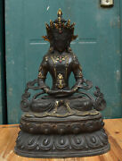 Old Tibetan Bronze Inlay Gem Amitayus Longevity God Goddess Boddhisattva Statue