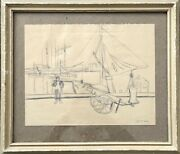 Antique Pencil Drawing Sketch Port Fishing Boats Nets Cart Jetty Sea 1921