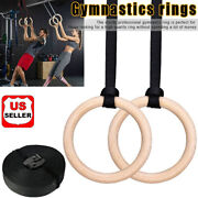 1set Wood Gymnastic Ring Olympic Strength Training Gym Rings Wooden Crossfit New