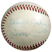Mickey Mantle Autographed Al Cronin Baseball Yankees Best Wishes Psa T01394