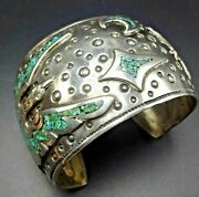 Charlie Singer Vintage Navajo Sterling Silver Turquoise Chip Inlay Cuff Bracelet
