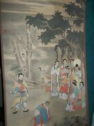 Vintage Chinese Literati Painting Silk Watercolor Ink Wall Scroll Marco Polo