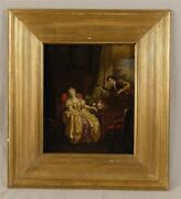 Continental School The Serenade Lady Figural Oil Painting 19th Century