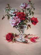 Completed Counted Cross Stitch Lucky Roses In A Vase Finished Art