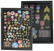 Pin Display Case Shadow Box For Lapel Political Pins Beach Tags Real Glass