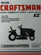 Sears Craftsman 19.5 Hp 42 6-speed Lawn Tractor Owner And Parts Manual 917.270810
