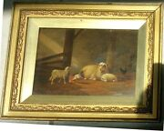 Jacob Van Dieghem - Gorgeous Painting Sheep Lambs And Chickens Oil Signed 1874