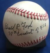 Gerald Ford 38th President Of Usa Inscription Autograph Signed Baseball Psa/dna
